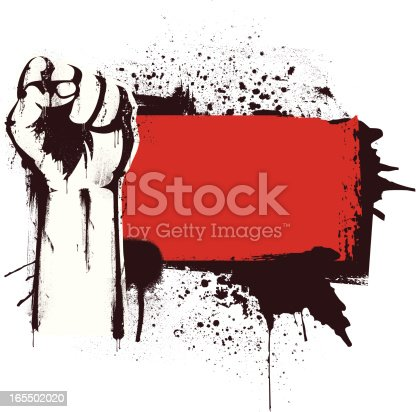 Stencil fist over a grunge red banner