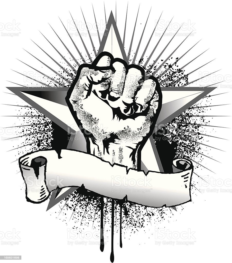 Revolution Fist And Star Symbol With Banner Stock