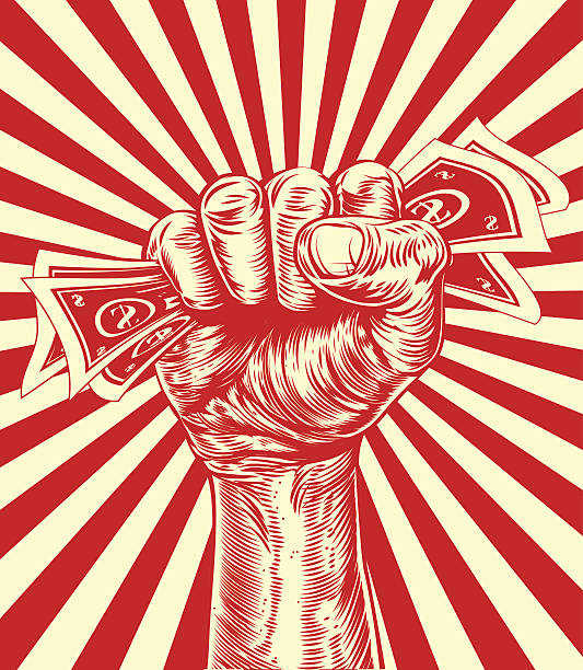 Revolution fist holding money concept An original design of a fist holding money in a vintage propaganda poster wood cut style minimum wage stock illustrations