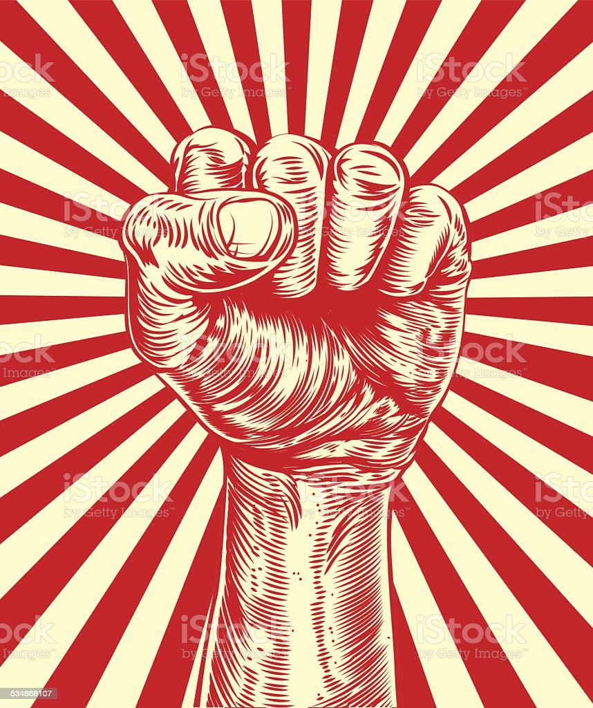 Revolução punho de propaganda cartaz - ilustração de arte em vetor
