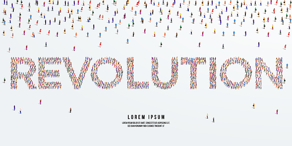 Revolution. Large group of people form to create Revolution. vector illustration.