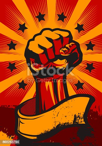 Revolution Poster in Retro Style. Vector Illustration.