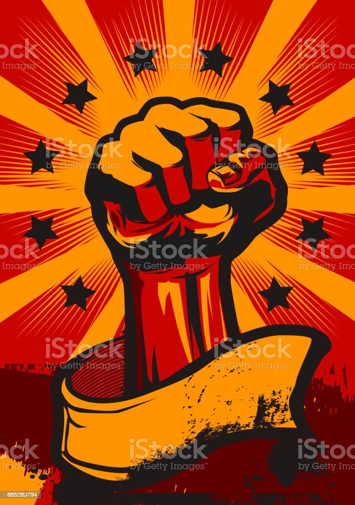 Revolution Poster in Retro Style. vector art illustration