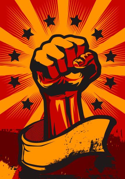 ilustraciones, imágenes clip art, dibujos animados e iconos de stock de cartel revolución en estilo retro. - lucha
