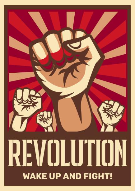 혁명 선전 포스터 - 러시아 stock illustrations