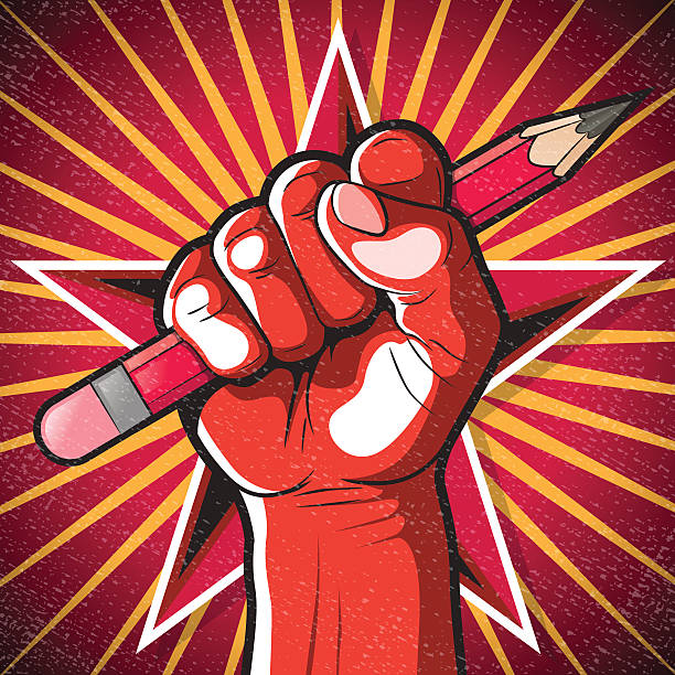 Revolutionary Punching Fist and Pencil Sign. vector art illustration