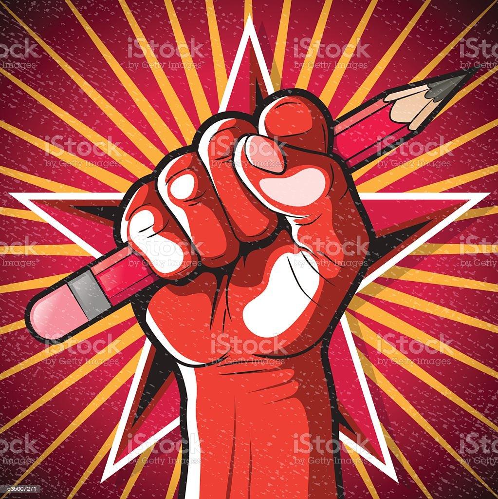 Révolutionnaire de poing poing et un crayon. - Illustration vectorielle