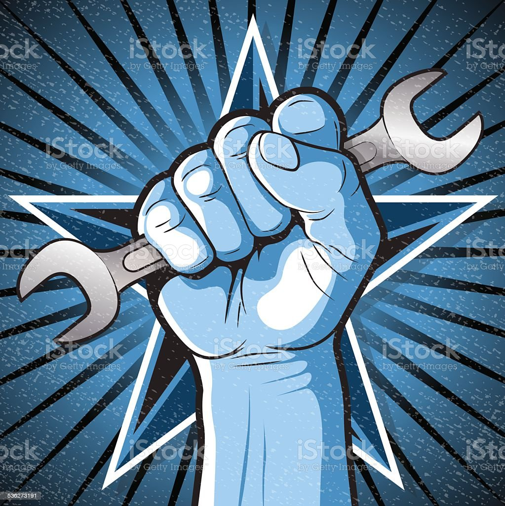 Revolutionary Punching Fist and Spanner Sign. - Royalty-free 1950-1959 stock vector