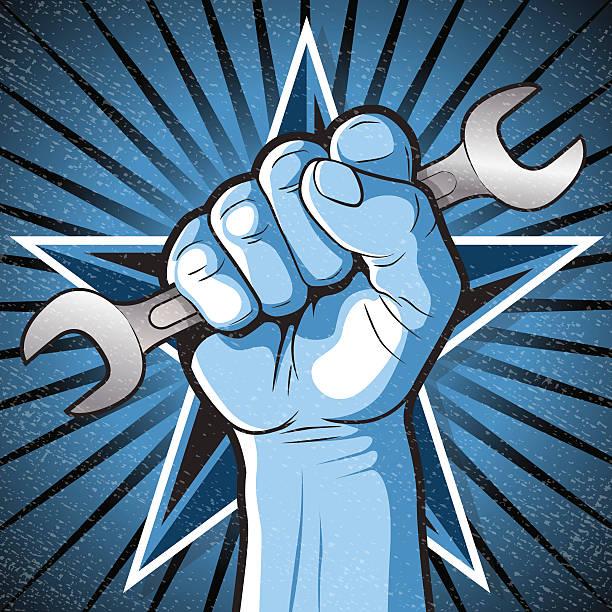 Revolutionary Punching Fist and Spanner Sign. vector art illustration