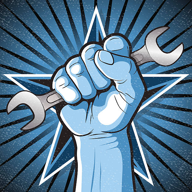 Revolutionary Punching Fist and Spanner Sign. vector art illustration
