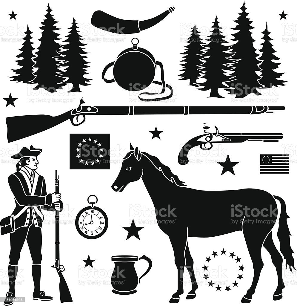Revolutionary war design elements vector art illustration