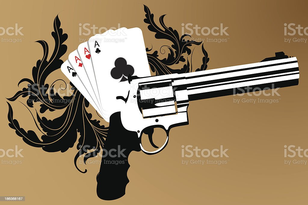 Revolver and playind cards royalty-free stock vector art