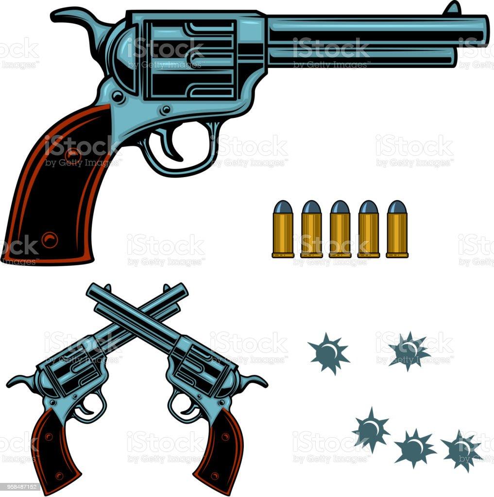 Revolver Colorful Illustration Gun Bullets And Holes Design