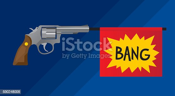 Vector illustration of a revolver gun with a flag sticking out the barrel that says