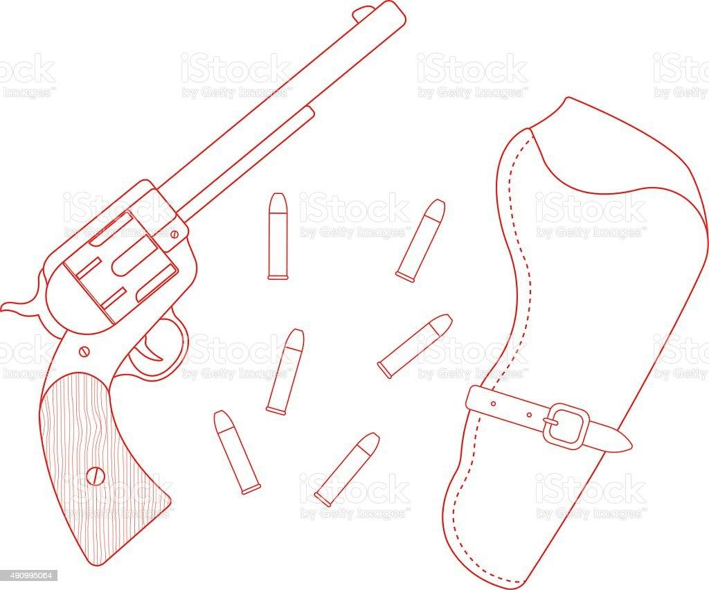 Revolver, leather holster, bullets. Contour vector art illustration