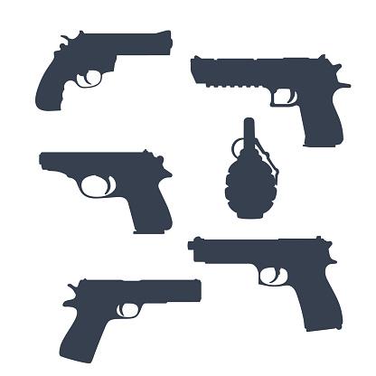 revolver, pistols, gun, handguns, grenade silhouettes isolated on white