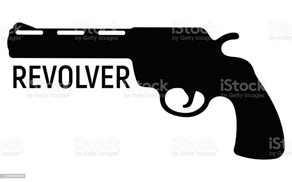 revolver silhouette pistol icon self defense weapon concept simple black vector illustration isolated on white shooting powerful firearms stock illustration download image now istock https www istockphoto com vector revolver silhouette pistol icon self defense weapon concept simple black vector gm1267622288 371989565