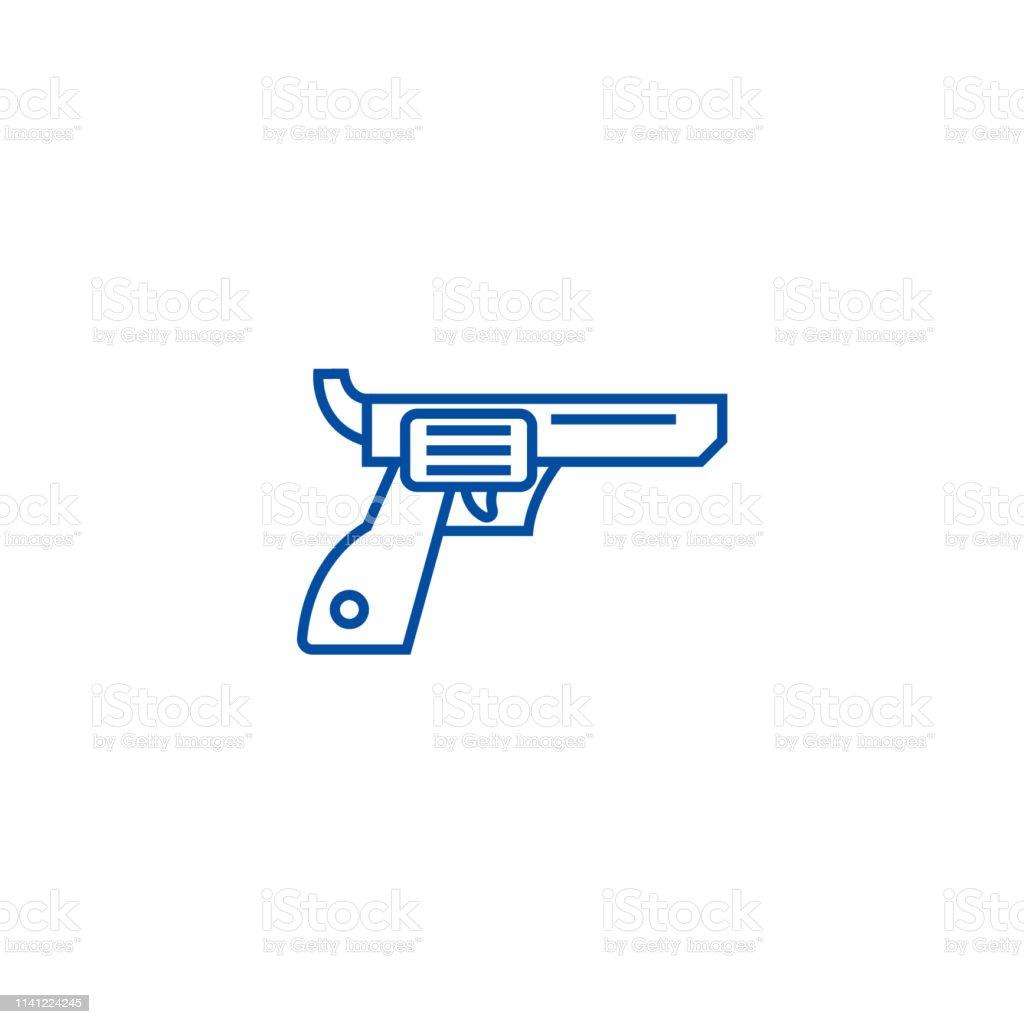 Revolverguncowboy Line Icon Concept Revolverguncowboy Flat
