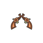 revolvers colored icon. Element of wild west icon for mobile concept and web apps. Cartoon revolvers icon can be used for web and mobile