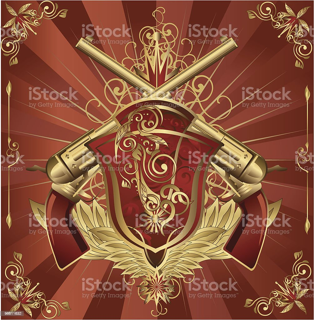 Revolvers & Shield crest - Royalty-free Animal Body Part stock vector