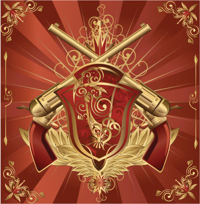 Revolvers Shield Crest-vektorgrafik och fler bilder på Brons
