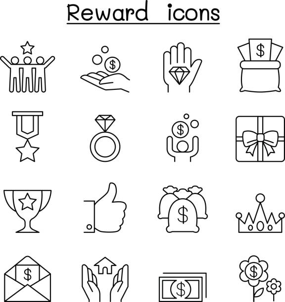 Reward & Bonus icon set in thin line style Reward & Bonus icon set in thin line style bonus march stock illustrations