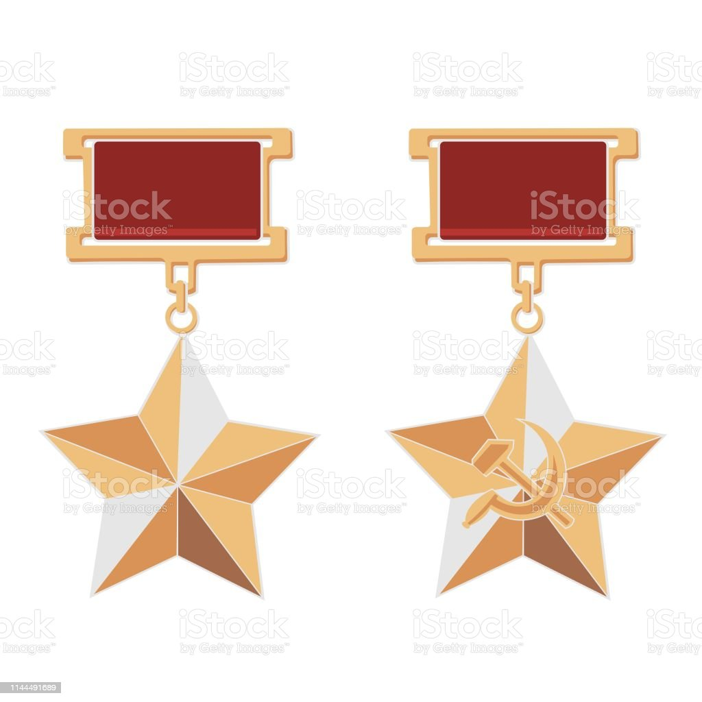 Reward Hero of the Soviet Union and Hammer and Sickle Medal on a white background royalty-free reward hero of the soviet union and hammer and sickle medal on a white background stock illustration - download image now