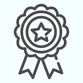 Reward medal line icon. Award medallion vector illustration isolated on white. Badge with the star outline style design, designed for web and app. Eps 10