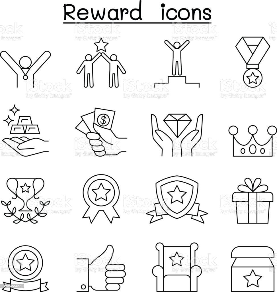 Reward & Success icon set in thin line style vector art illustration