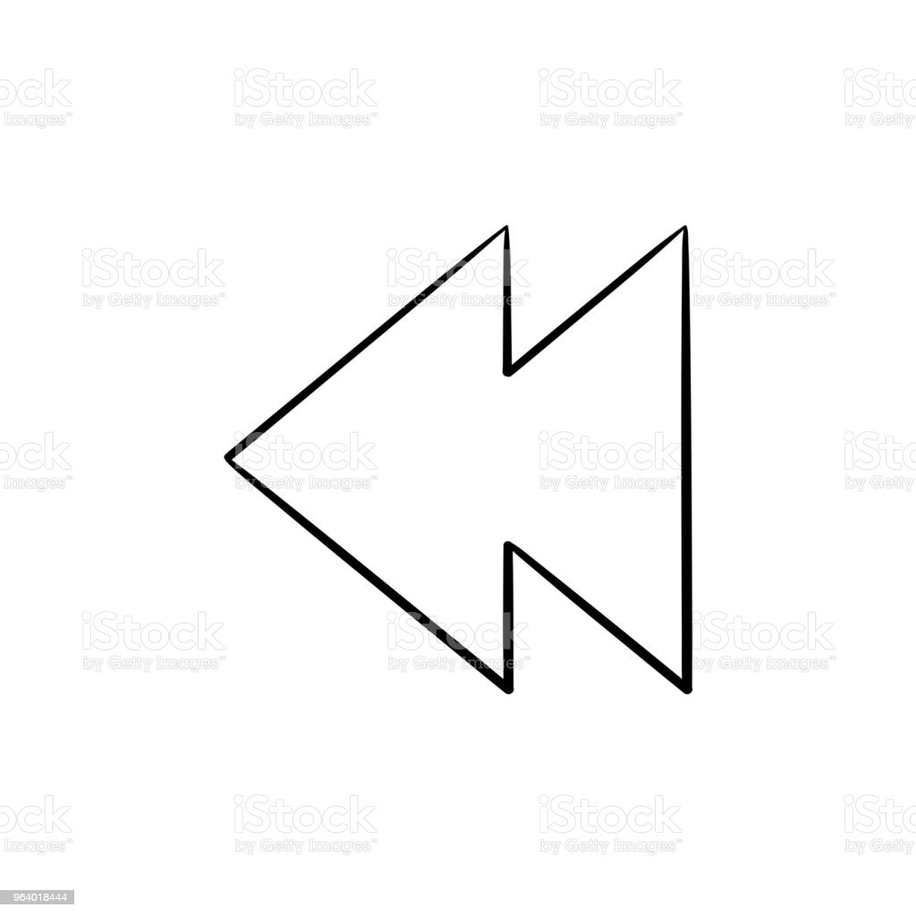 Rewind button hand drawn outline doodle icon - Royalty-free Arrow Symbol stock vector