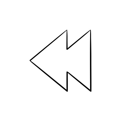 Rewind Button Hand Drawn Outline Doodle Icon Stock Illustration - Download Image Now