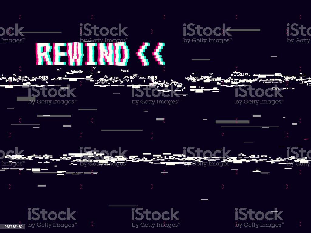 rewind glitch background retro vhs template for design glitched