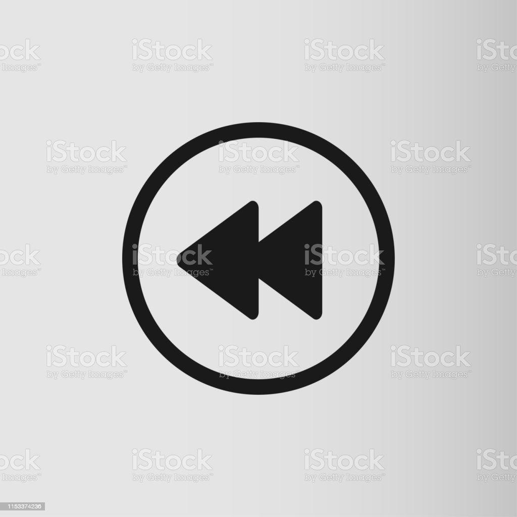 Rewind symbol, fast backwards sign. Flat style icon on gray...