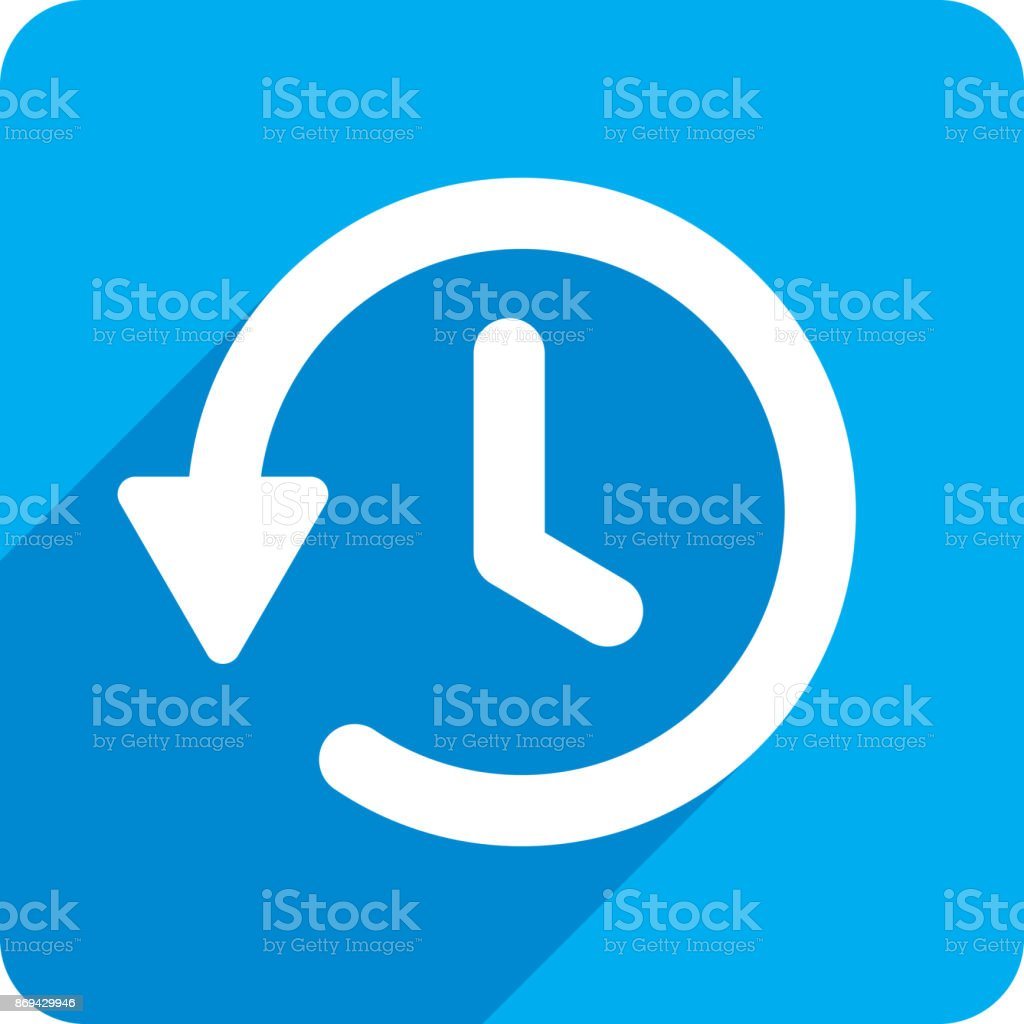 Rewind Time Icon Silhouette vector art illustration