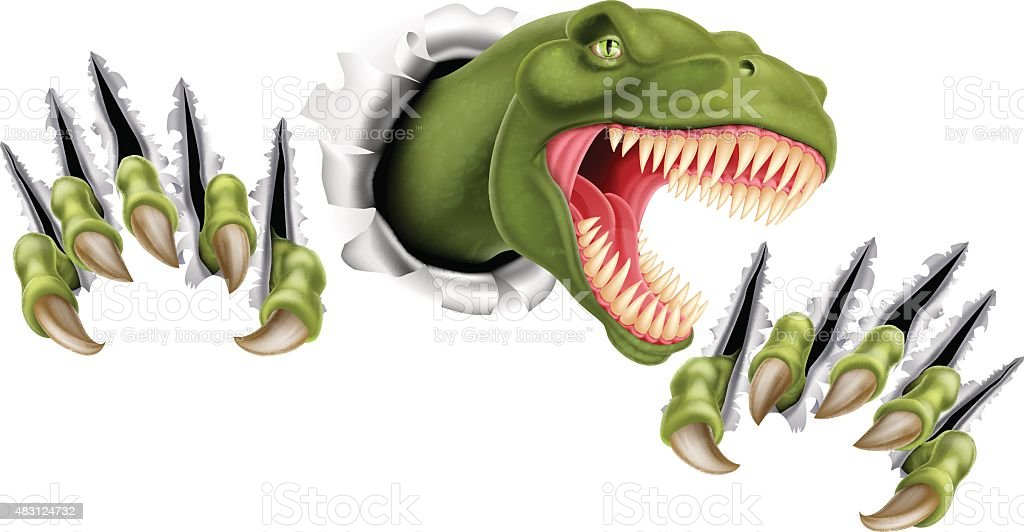 T Rex Dinosaur Breaking Through vector art illustration