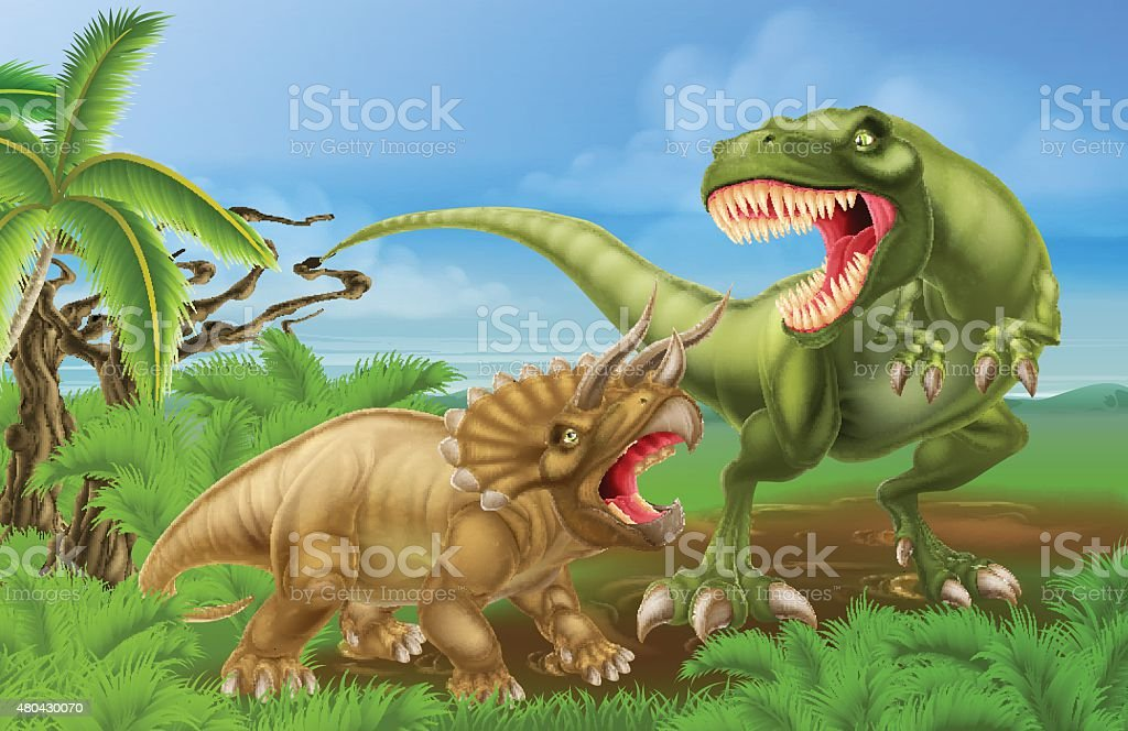 T Rex Triceratops Dinosaur Fight Scene vector art illustration