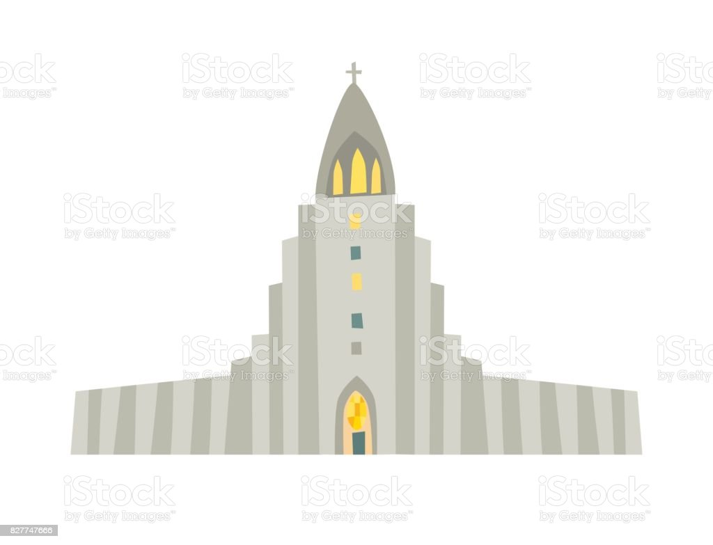 Reykjavik church vector icon vector art illustration