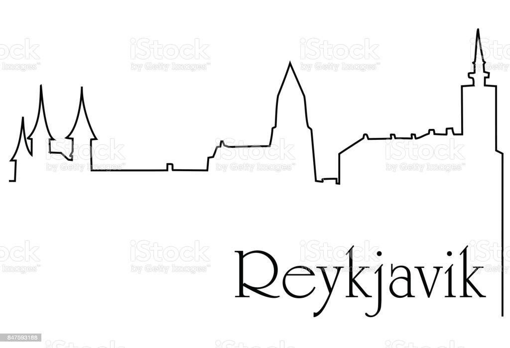 Reykjavik city one line drawing vector art illustration