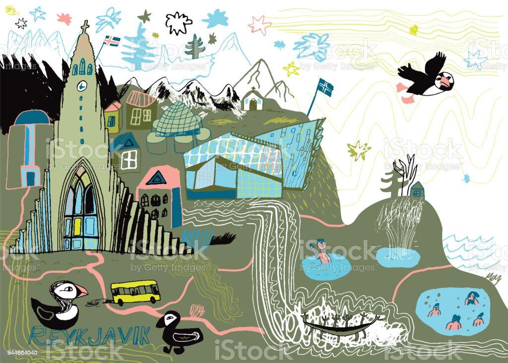 Reykjavik in Iceland vector art illustration