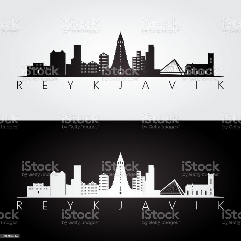 Reykjavik skyline and landmarks silhouette, black and white design, vector illustration. vector art illustration