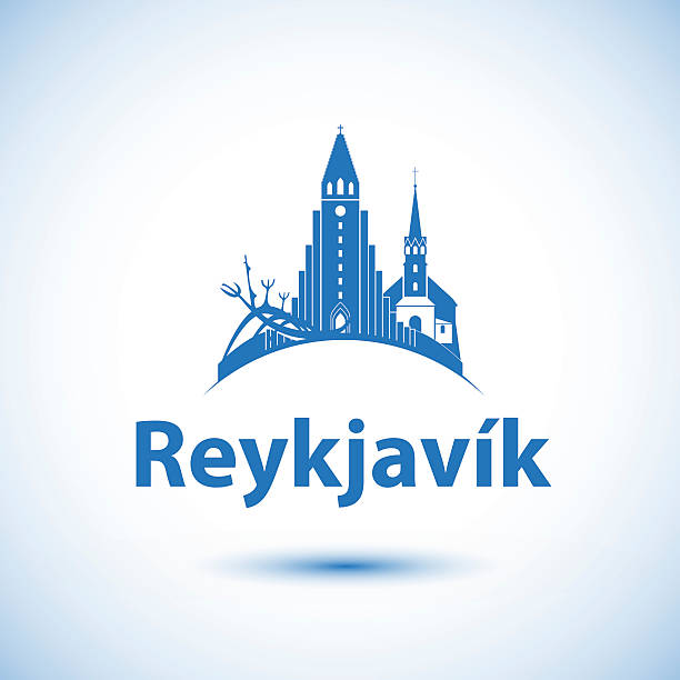 reykjavik skyline-vektor-illustration - iceland stock-grafiken, -clipart, -cartoons und -symbole