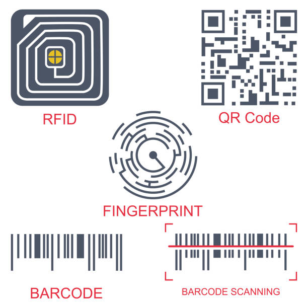 rfid tag, qr code, fingerprint and barcode vector flat icon set isolated on a white background. radio-frequency identification and scanning technology. - kod kreskowy stock illustrations