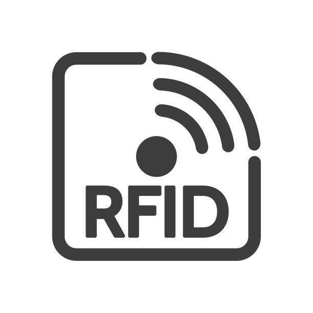 Rfid technology label Rfid technology label. Frequency identification tag, electronic identify smart icon, semiconductor circuit antenna personal tagging system, radio signals tracking inventory sign radio frequency identification stock illustrations