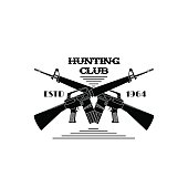 Hunter club emblem. For use as cards, in printing, posters, invitations, web design and other purposes.