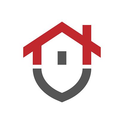 Основные RGBHome protection logo design template. Vector shield and house logotype illustration. Graphic home security icon label. Modern building alarm symbol. Security sign badge. EPS 10