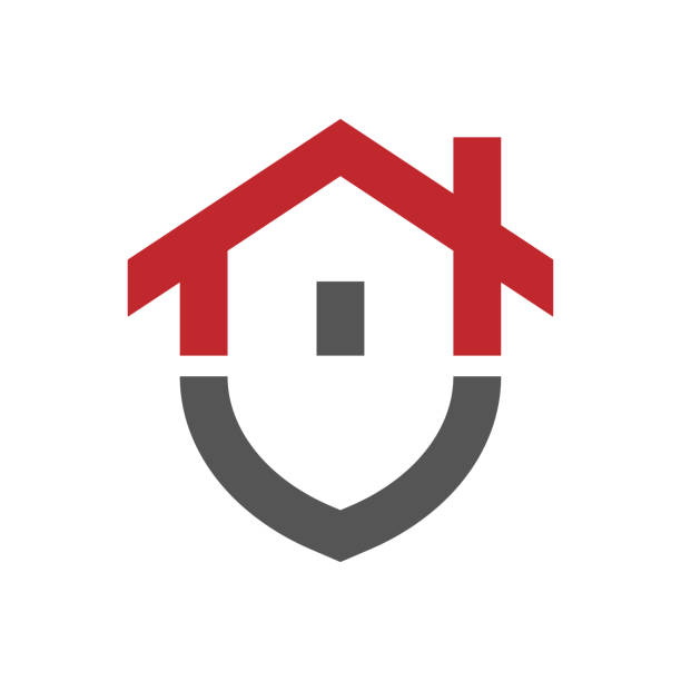Основные RGBHome protection logo design template. Vector shield and house logotype illustration. Graphic home security icon label. Modern building alarm symbol. Security sign badge. EPS 10 vector art illustration