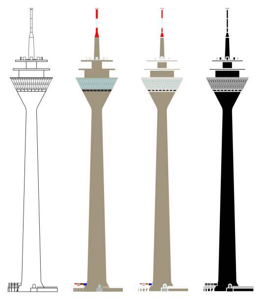 rheinturm düsseldorf turm vorn - düsseldorf stock-grafiken, -clipart, -cartoons und -symbole
