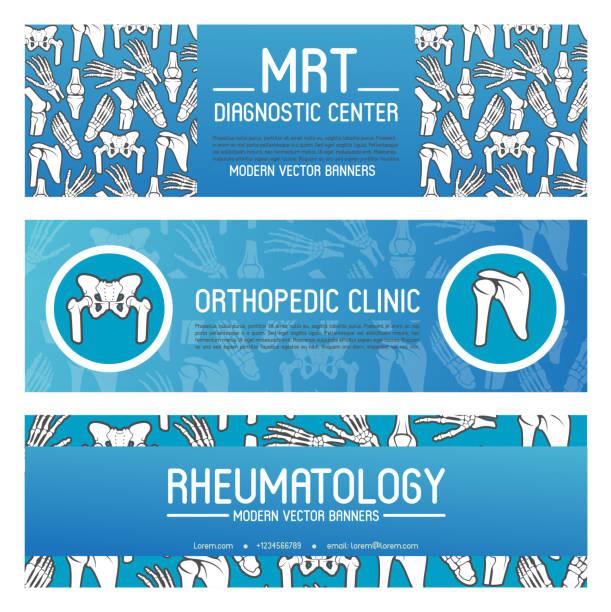 ilustrações, clipart, desenhos animados e ícones de reumatologia e medicina ortopédica banner projeto - ortopedia