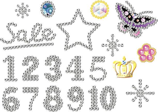 strass-nummern - modeschmuck stock-grafiken, -clipart, -cartoons und -symbole