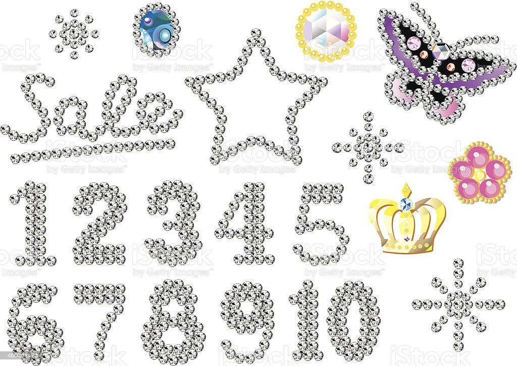 rhinestone ornaments numbers royalty-free stock vector art